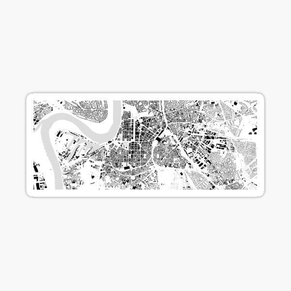 Düsseldorf black & white building city map Sticker