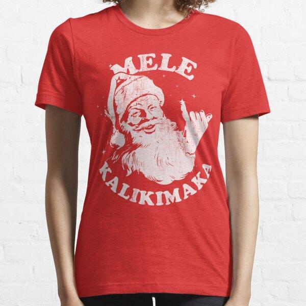 Retro Christmas Mele Kalikimaka Santa Shaka Hawaii Essential T-Shirt