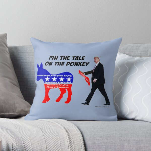 Pin The Tale On The Donkey Throw Pillow