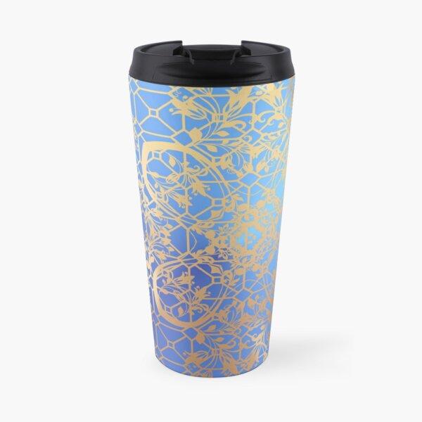 Gold  Filigree and Lace on Blue Travel Mug