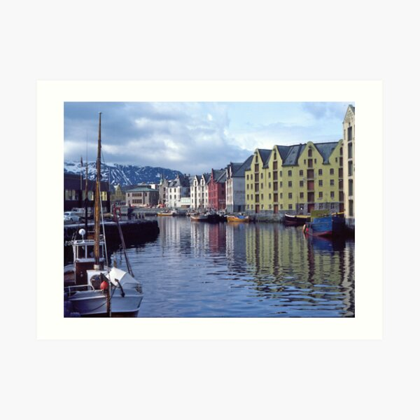 Fishing port, Alesund, Norway. Art Print
