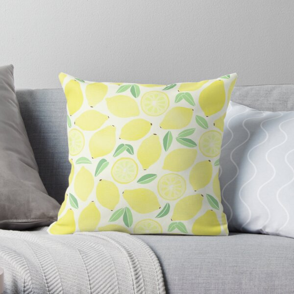 Summer Lemons Throw Pillow