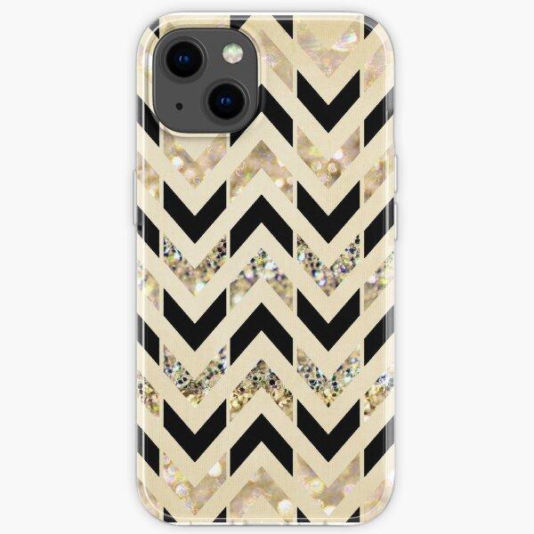 Black & Gold Glitter Herringbone Chevron on Nude Cream iPhone Soft Case
