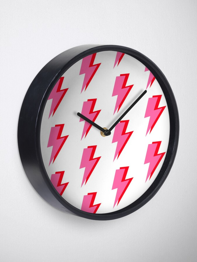 Alternate view of Pink and Red Lightning  Clock