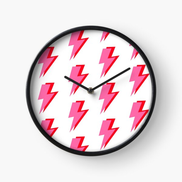 Pink and Red Lightning  Clock