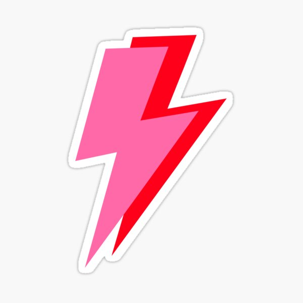 Pink and Red Lightning  Sticker