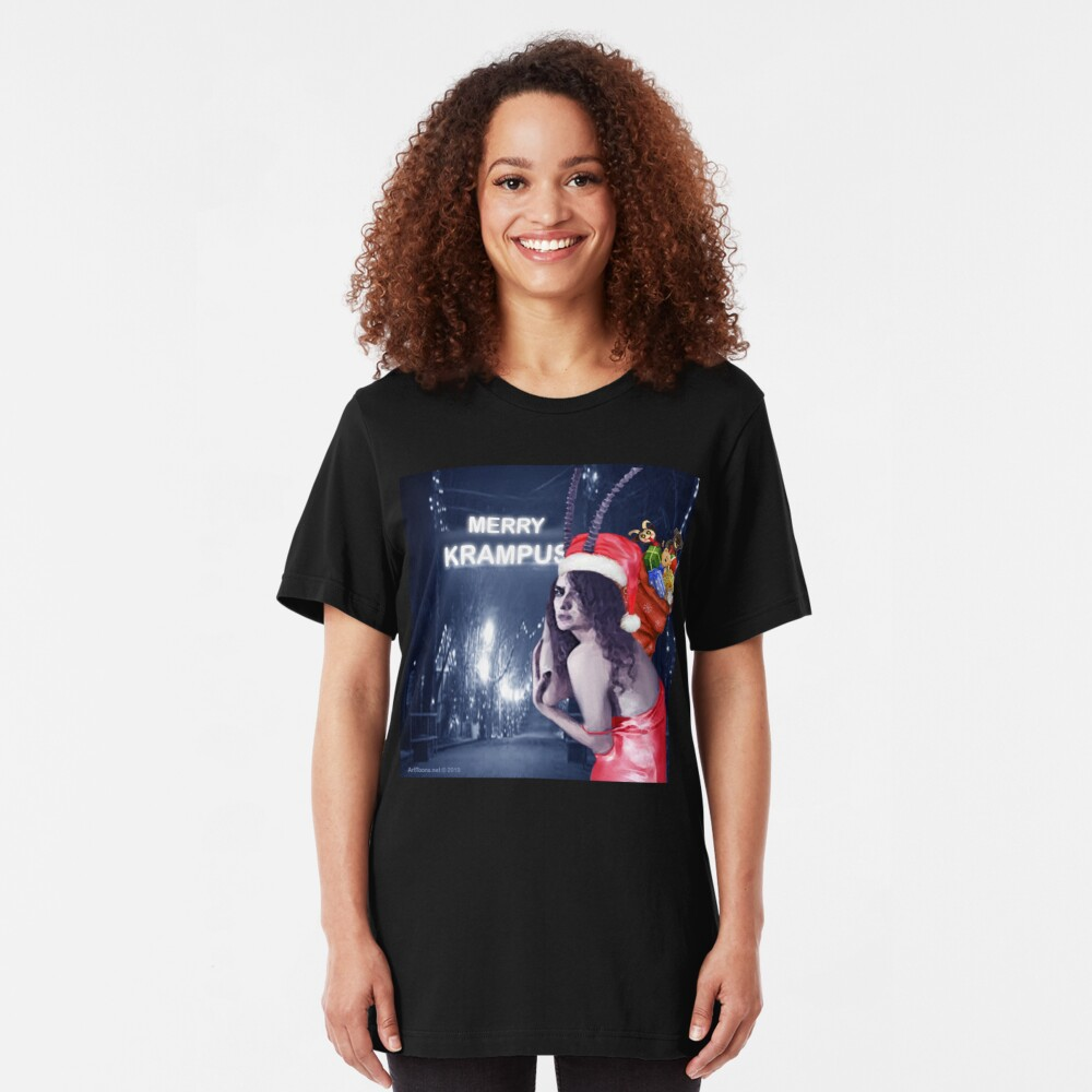 Krampus Claws Is Coming To Town Slim Fit T-Shirt