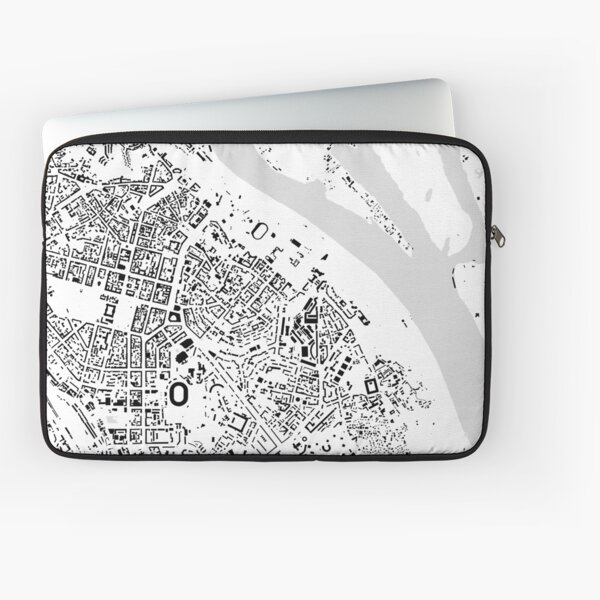 Kiev black & white building city map Laptop Sleeve
