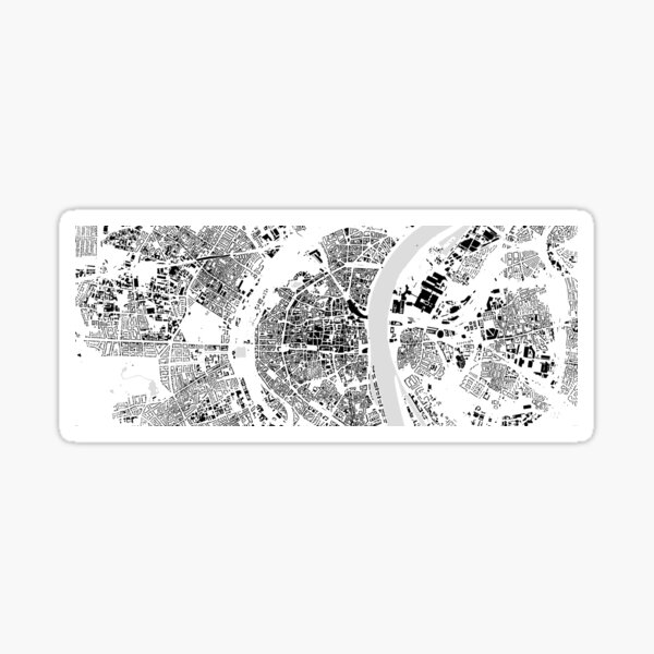 Cologne black & white building city map Sticker