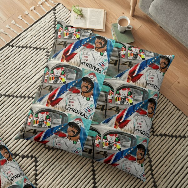 Lewis Hamilton - 6 x Champion painting by DRAutoArt Floor Pillow