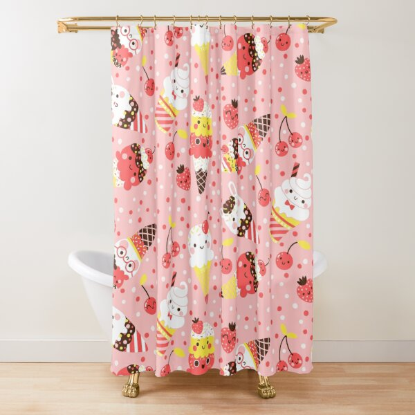 Summer Ice Cream In Pink   Shower Curtain