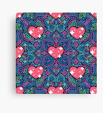 Hearts on Blue and Pink Joypixels World Emoji Day Canvas Print