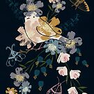 Bird and flowers by Susan Mitchell