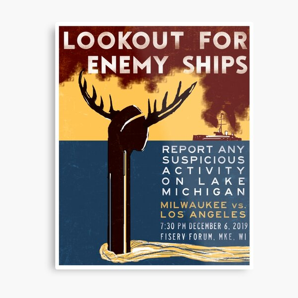 Lookout for Enemy Ships Metal Print