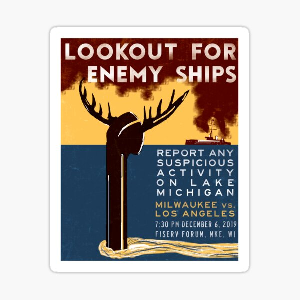 Lookout for Enemy Ships Sticker