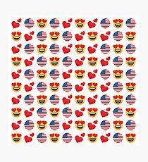 Love American Emoji JoyPixels Travel to United States Photographic Print