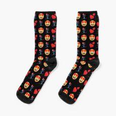 Love Skiing Emoji JoyPixels Funny Skier Socks