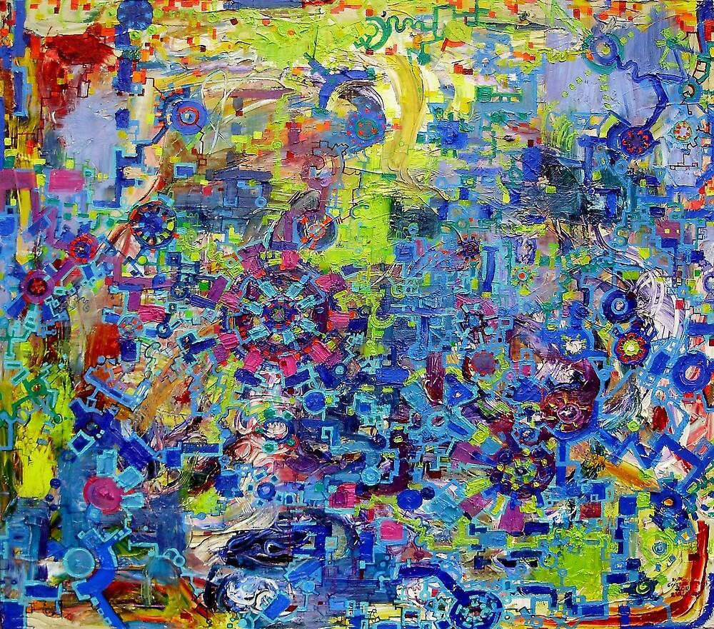 Rube Goldberg Abstract by Regina Valluzzi
