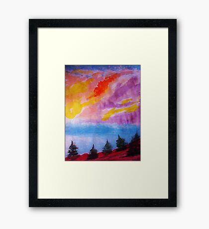 Colorful clouds over the pines, watercolor Framed Print