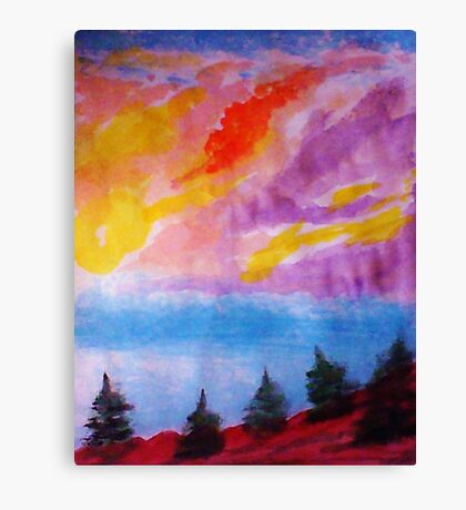 Colorful clouds over the pines, watercolor Canvas Print