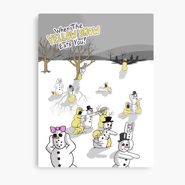 Zombie Snowmen Metal Print