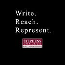 Write. Reach. Represent (on colored backgrounds) by Douglas E.  Welch