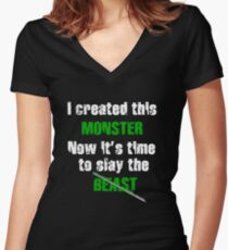Monster Women's Fitted V-Neck T-Shirt
