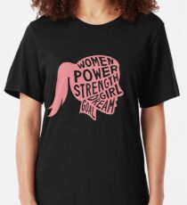 Women Power Emoji JoyPixels Dream Girl Goal Rose Gold Slim Fit T-Shirt