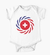 Swiss American Multinational Patriot Flag Series Short Sleeve Baby One-Piece
