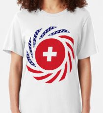 Swiss American Multinational Patriot Flag Series Slim Fit T-Shirt