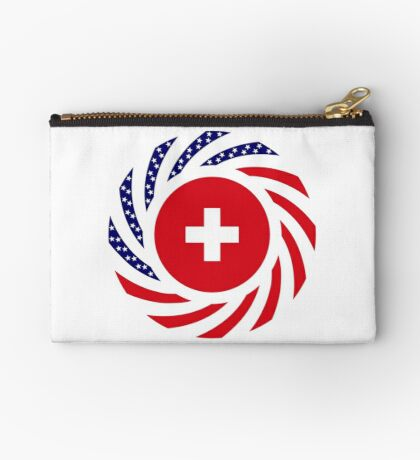 Swiss American Multinational Patriot Flag Series Zipper Pouch