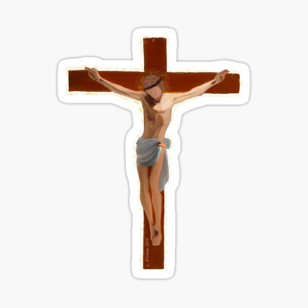 Jesus, handpainted crucifix. Stickers, Phone case, more Sticker