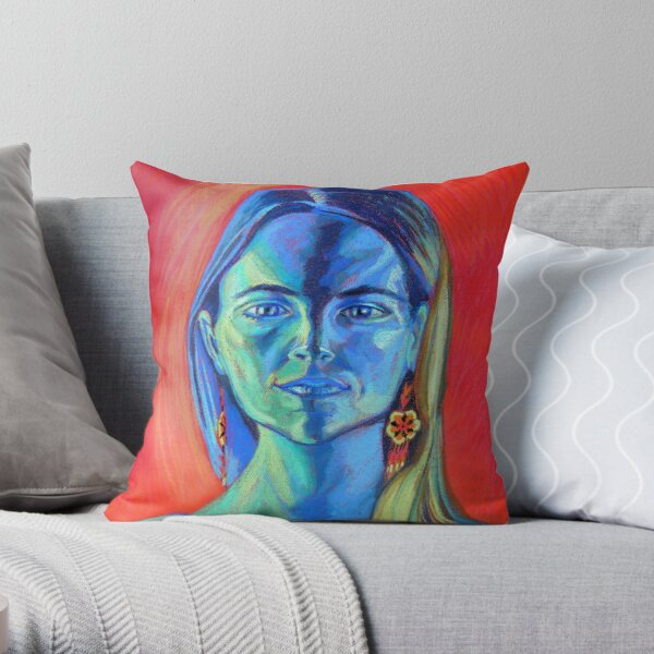 Blue Woman (self portrait) Throw Pillow