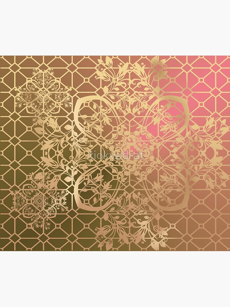 Gold Filigree and Lace on Green and Pink by tiokvadrat