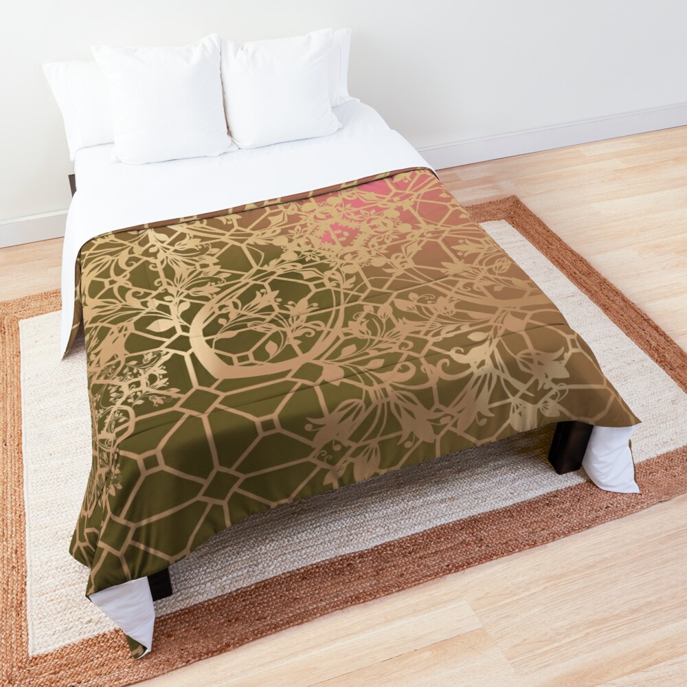 Gold Filigree and Lace on Green and Pink Comforter