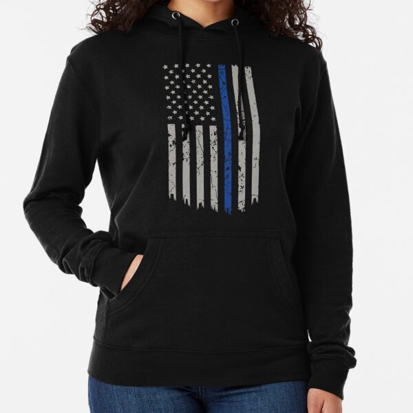 Thin Blue Line Distressed American Flag Zip Up Hoodie West Virginia