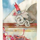 """the dragon is transformed into a statue of stone, illustration for story, """"dashi drangua"""" by vimasi"""