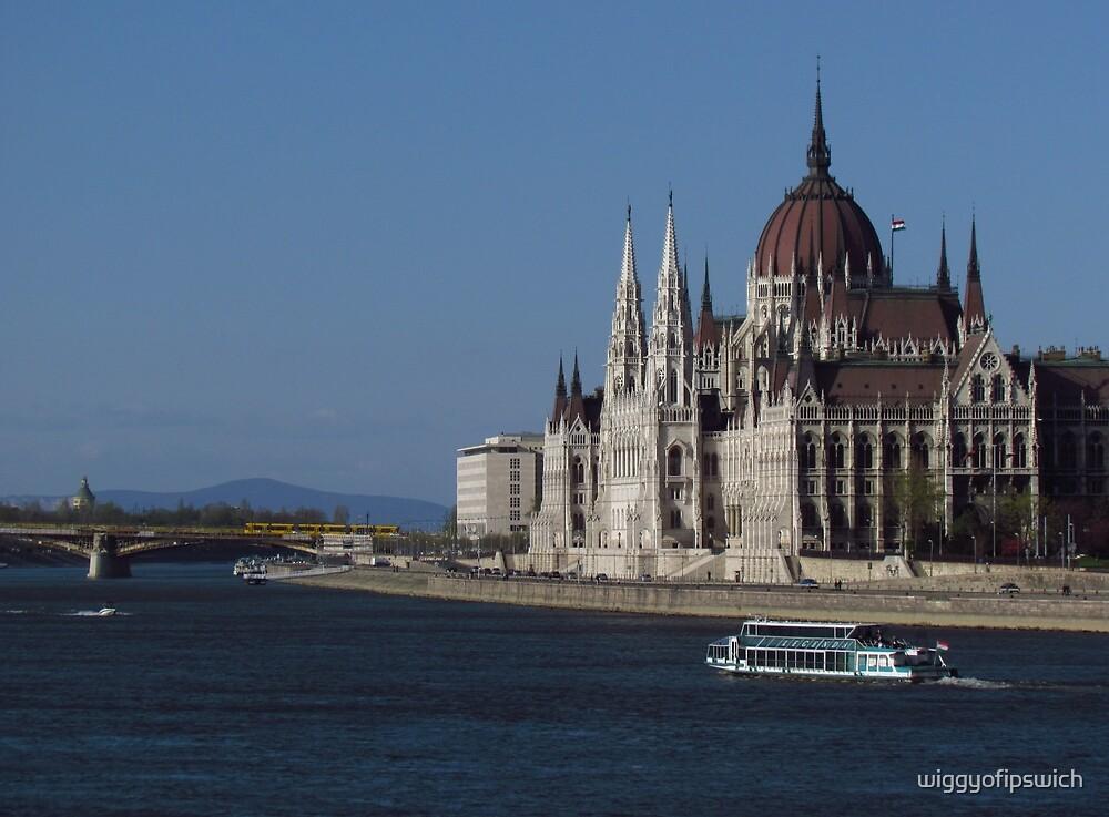 Hungarian Parliament from Chain Bridge by wiggyofipswich