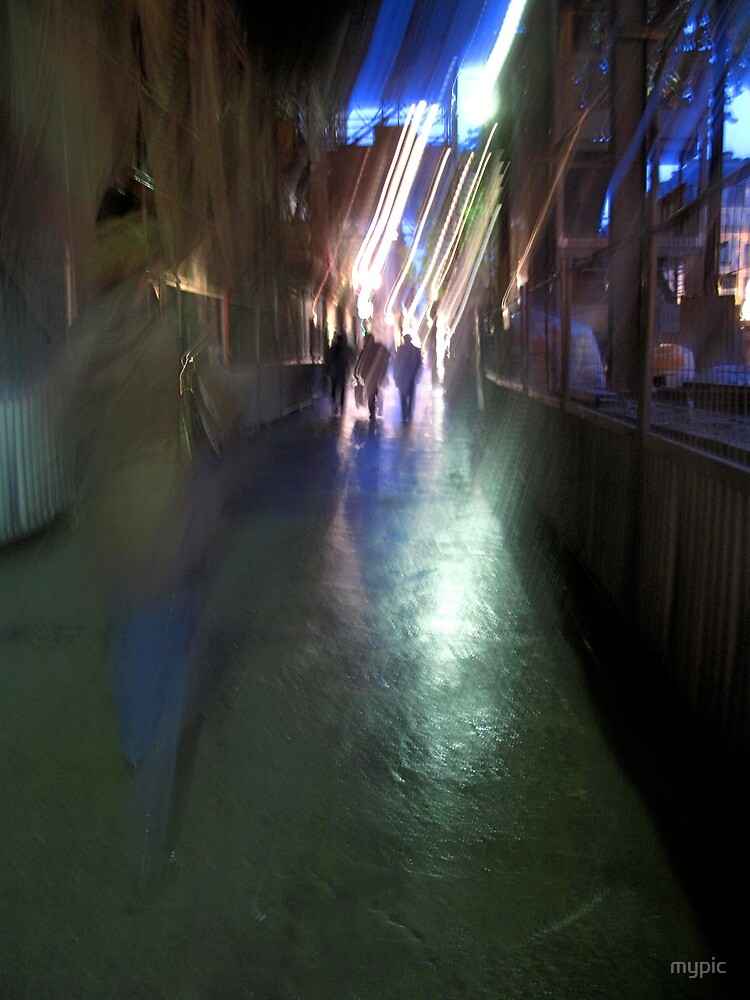 After the rain-Paris sidewalk, early evening by mypic