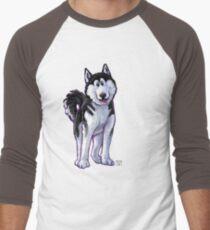 Animal Parade Husky Silhouette Men's Baseball ¾ T-Shirt