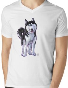 Animal Parade Husky Silhouette Mens V-Neck T-Shirt