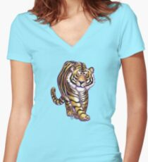 Animal Parade Tiger Silhouette Women's Fitted V-Neck T-Shirt