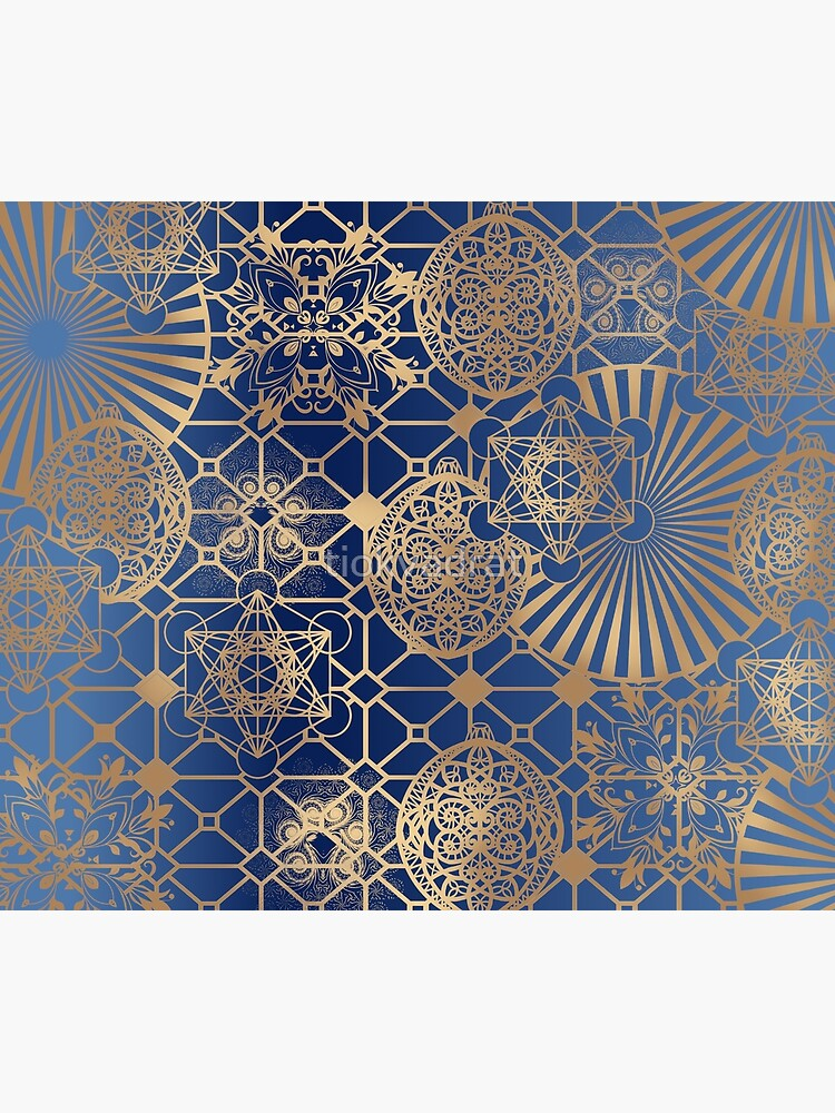 Gold Mandalas and Lace on Blue by tiokvadrat
