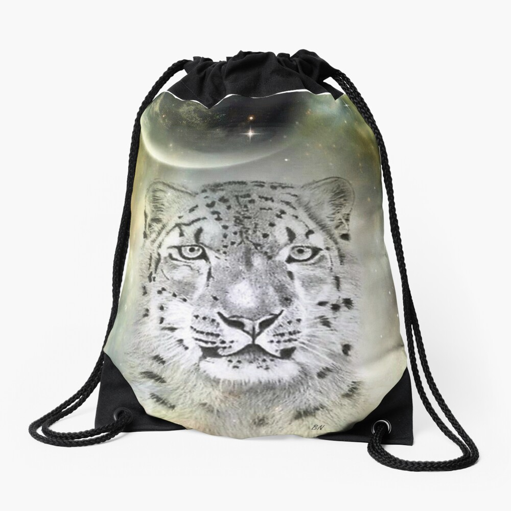 Out of this World Snow Leopard Drawstring Bag