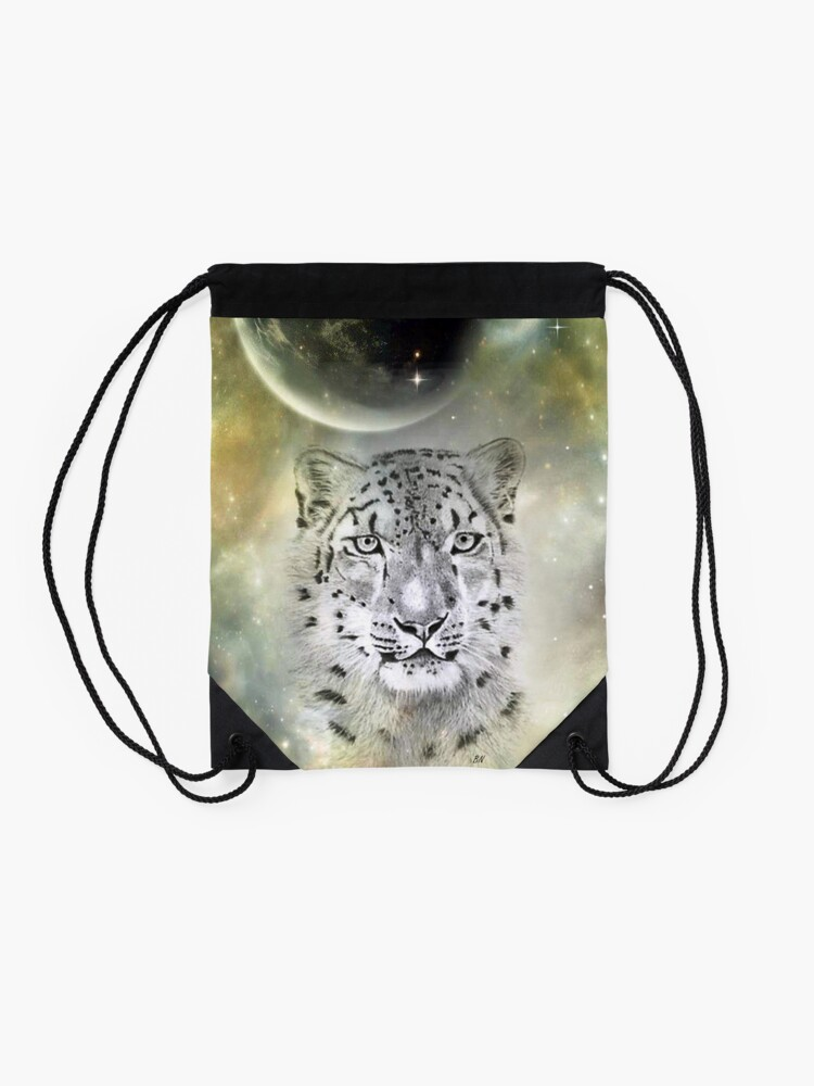 Alternate view of Out of this World Snow Leopard Drawstring Bag