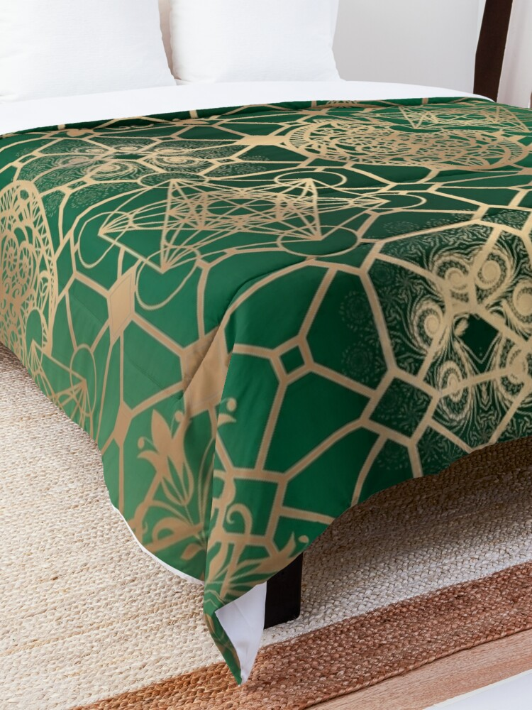 Alternate view of Gold Mandalas and Lace on Eucalyptus Comforter