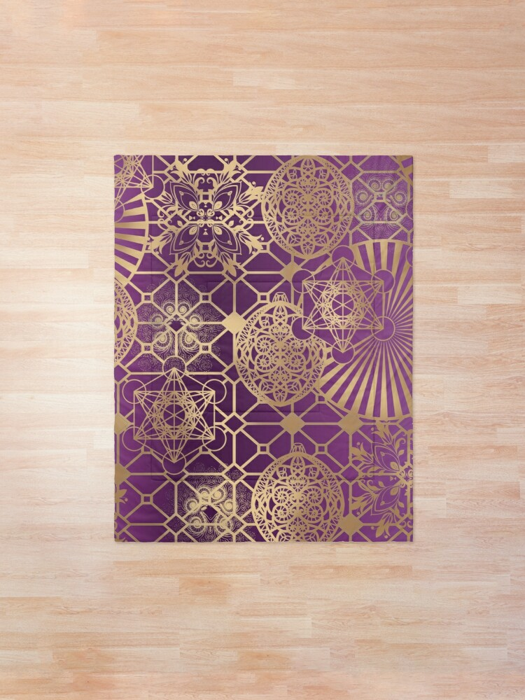 Alternate view of Gold Mandalas and Lace on Purple Comforter