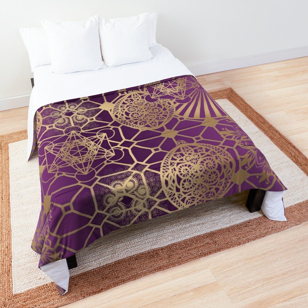 Gold Mandalas and Lace on Purple Comforter
