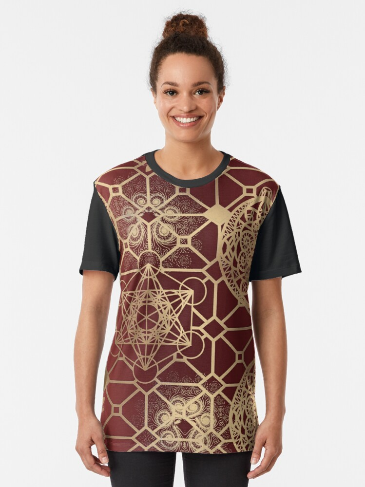 Alternate view of Gold Mandalas and Lace on Salmon Pink | Rich Intricate Filigree Pattern Graphic T-Shirt