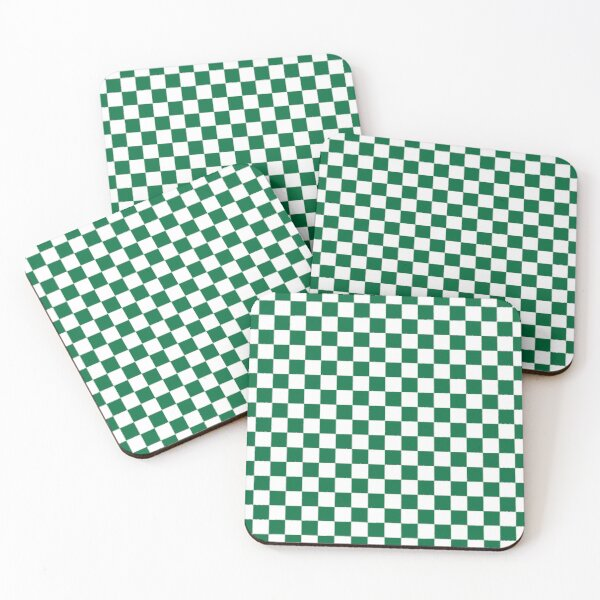 White and Cadmium Green Checkerboard Coasters (Set of 4)
